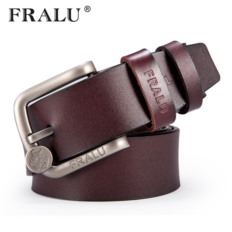 FRALU New fashion men   belt   designer   belts   high quality genuine leather   belt   pin buckle vintage jeans men   belts   ceinture homme