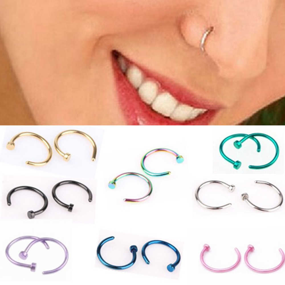Suti 1PCS ปลอมแหวน C คลิปจมูกแหวน Kylie lip Piercing Falso แหวนจมูก Hoop สำหรับผู้หญิงแฟชั่นเครื่องประดับ
