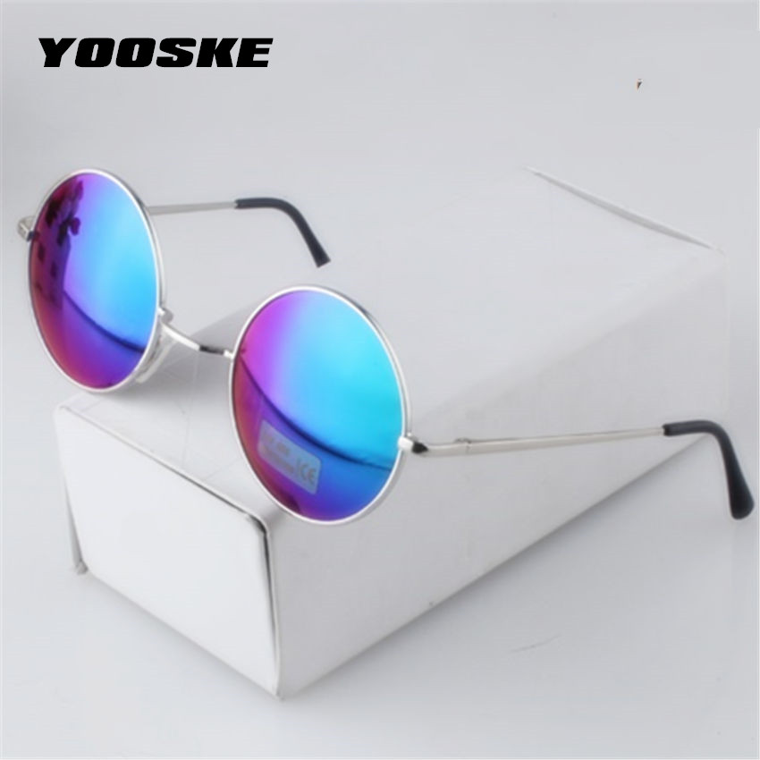 YOOSKE Women Men Alloy Round Sunglasses Male Female Metal Sun Glasses Gold Vintage Circle Sunglasses Feminine stylish metal frame round mirrored sunglasses