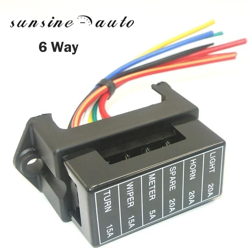 6 Way Fuse Box Circuit Standard Auto Blade Block Holder For Car Boat DC 12V-24V