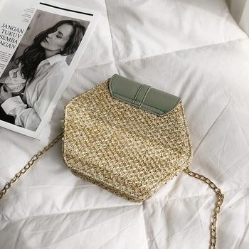 Hexagon Straw + Leather Crossbody Bags 4