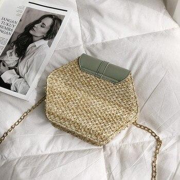 Hexagon Multi-Style Straw+Leather Handbag Women Summer Rattan Bag Handmade Woven 8