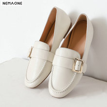 NEMAONE Boat shoes women fashion genuine leather shoes buckle casual shoes round toe plus size 42 ladies flat