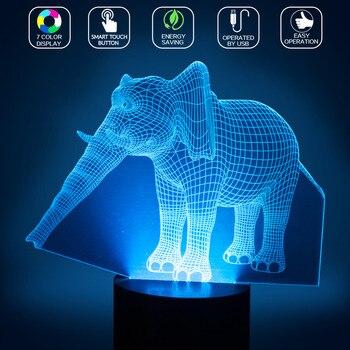 2018 Nova 7 Cores Mudando LED Night Light Decoração Da Casa Elefante Animal Decor Lâmpada de Carregamento USB Presente de Aniversário Light- TN
