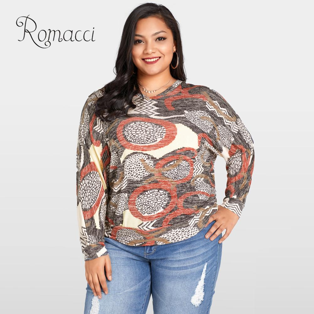 Romacci 5XL Plus Size Women s Blouse Vintage Geometric Print Batwing Long Sleeve  Womens Tops and Blouses O-neck Casual Loose Top fa02d0df14fd