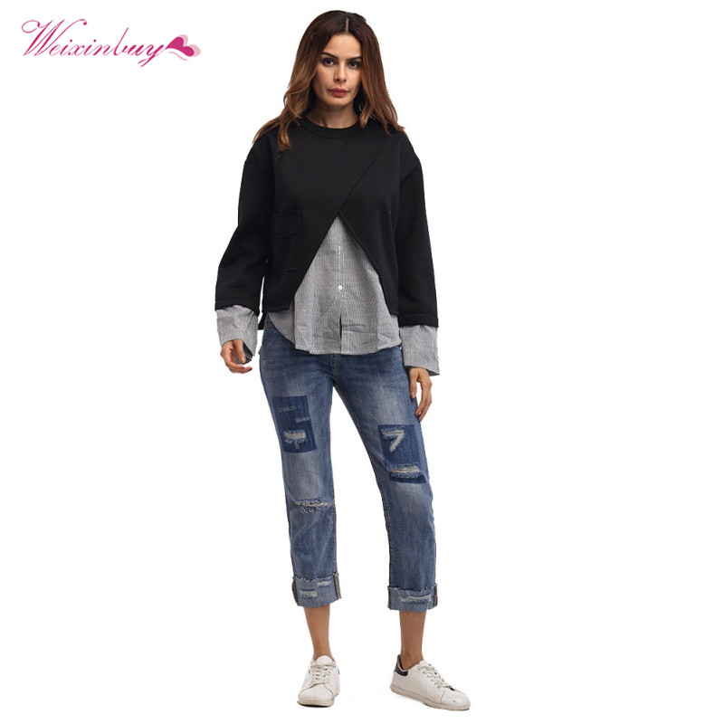 Womens New Design Patchwork Fake two pieces Top Clothing Female Casual Pullover Hoodies Cotton O neck Hip Hop Clothing