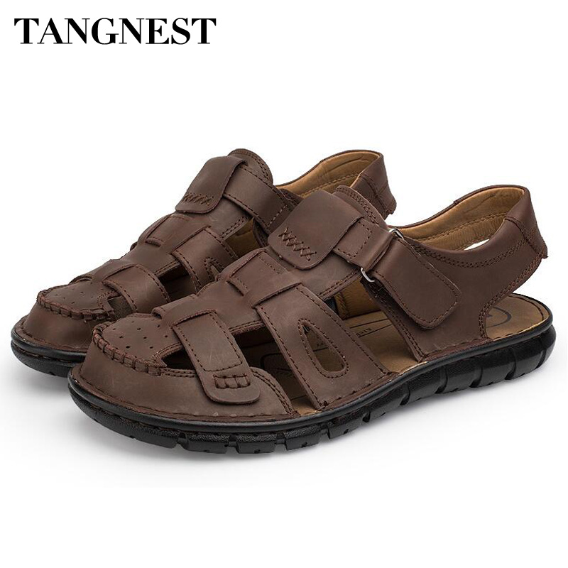 Tangnest Brand New Men Gladiator Sandals Classic Cow Leather Fisherman Shoes Man High Quality Foot Protect Sandals Male XML199