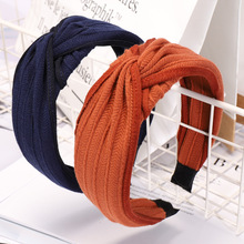 Hair Accessories Solid Knitting Cross Hairband For Women Girls Twisted Knotted Band Soft Wide Side Bow Hoop Headwear