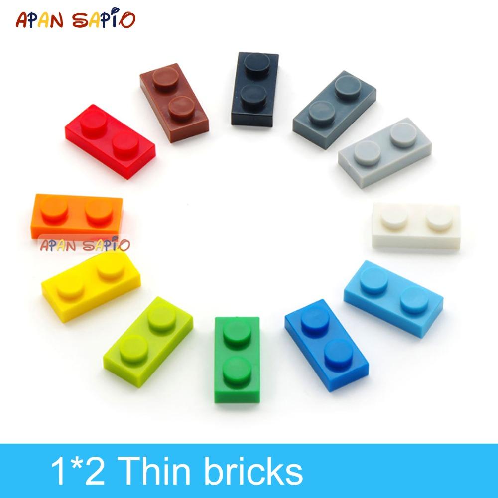 200pcs DIY Building Blocks Thin Figures Bricks 1x2 Dots 12Color Educational Creative Size Compatible With 3023 Toys for Children