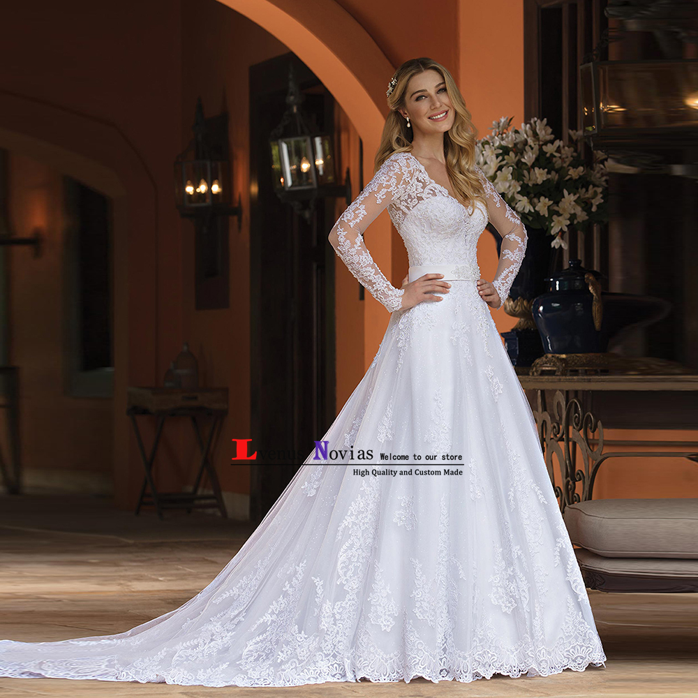Robe De Marie See Through Back Wedding Gowns Elegant Lace Long Sleeve Wedding Dresses 2018 Bridal