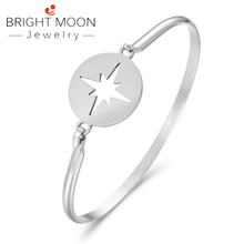Bright Moon Fashion Cuff Bracelets Bangles for Woman Stainless Steel Circular Jewelry Gifts