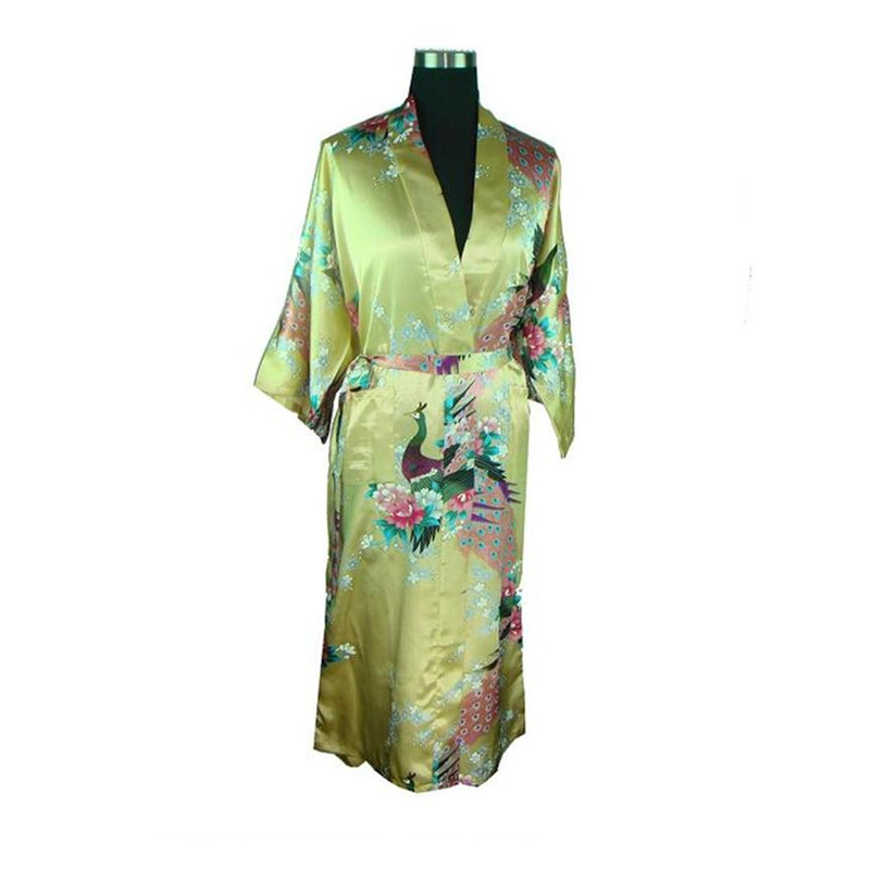 Fashion Chinese Women Silk Rayon Robe Kimono Bath Gown Nightgown Peacock Flower Pattern Casual Ladies Long Satin Robe