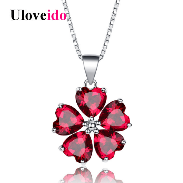 Red Garnet & CZ 925 Sterling Silver White Gold Plating Flower Pendant Necklace For Women EsJS4oym4