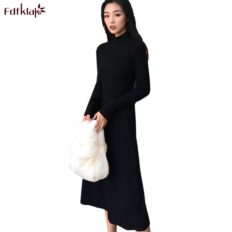 Fdfklak Woman Casual Dress Long Sleeve Knitted Cotton and Wool Dress Turtleneck Warm Party Dresses for Women vestido de festa fashion woman s striped beanies hat 2016 new autumn winter knitted warm wool casual girl cap for woman skullies chapeu feminino