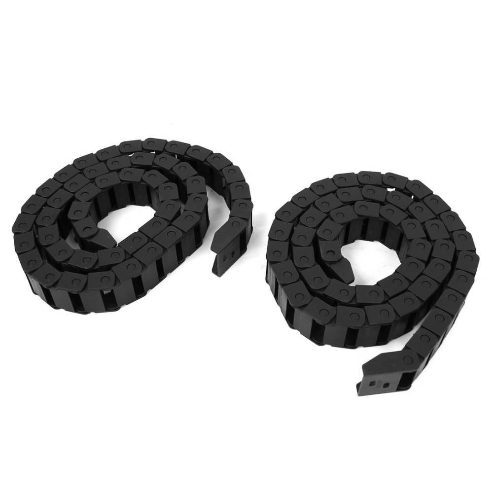 UXCELL 2 Pcs Black Plastic Drag Chain Cable Carrier 10 x 20mm for CNC Machine for CNC Machine Tools, Electronic Equipment 10 x 20mm 10 20mm l1000mm plastic nylon cable drag chain wire carrier for cnc router machine tools