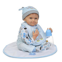 Silicone Reborn Baby Doll Newborn Babies Accompany Dolls Children Kids Toys For boys Birthday Gift Cotton Body Baby Doll