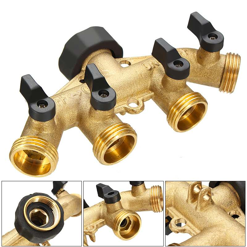 3/4 Inch Brass 4 Way Hose Pipe Splitter Nozzle Switcher Tap Connectors For Garden Irrigation Hose Connectors Pipe Hose Fitting