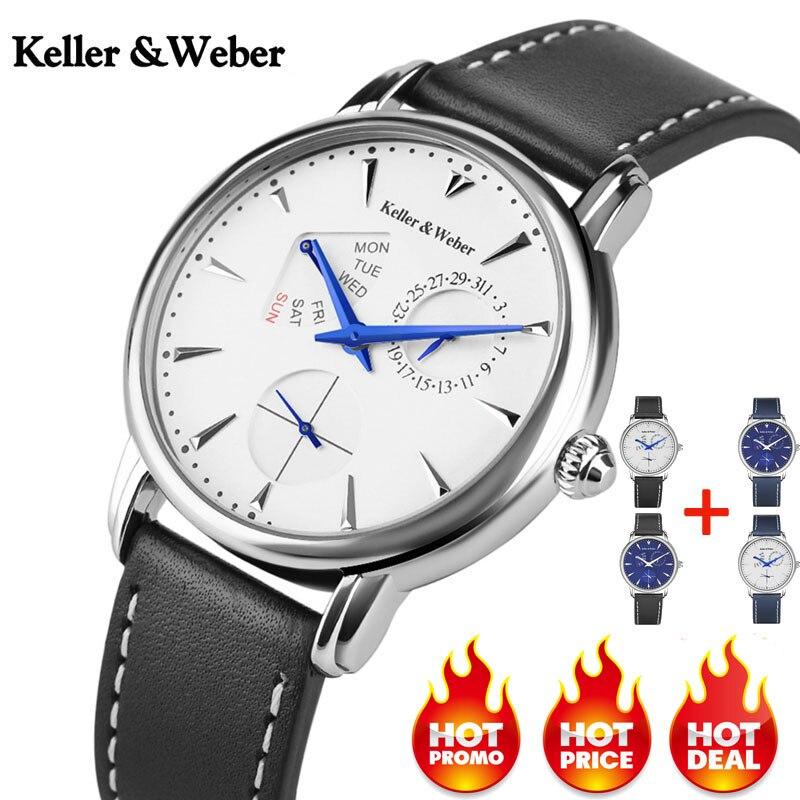 Keller & Weber Men's Watches Luxury Brand Famous Unique Designer Genuine Leather Quartz Wrist Watch Men Clock Man Reloj Hombre