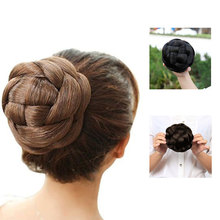 HiDoLA  Synthetic Hair Piece Braided Chignon Clip In Bun High Temperature Fiber Donut Rollers