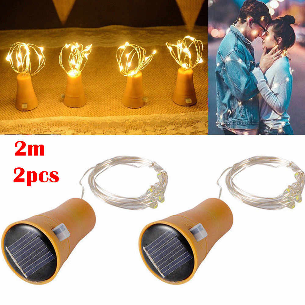 2019 2PCS 2M Solar Cork LED String Light Copper Wire String Holiday Outdoor Fairy Lights For Christmas Party Wedding Decoration