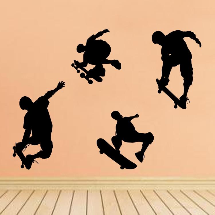 Skateboard Boys Sports Cool Life Simple Black/White DIY Wall ...