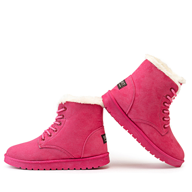 db2f31b1acd Autumn and winter snow cotton-padded shoes boots women s shoes flat heel  plus velvet thickening