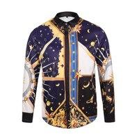 3D Printed Shirts Men Long Golden Flying Horse Moon Pattern Casual Fancy Fit Slim Dress Shirt
