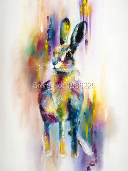 Frameless Picture On Wall Acrylic Paint Painting Oil Painting Christmas Gift Coloring handmade Rabbit oil painting