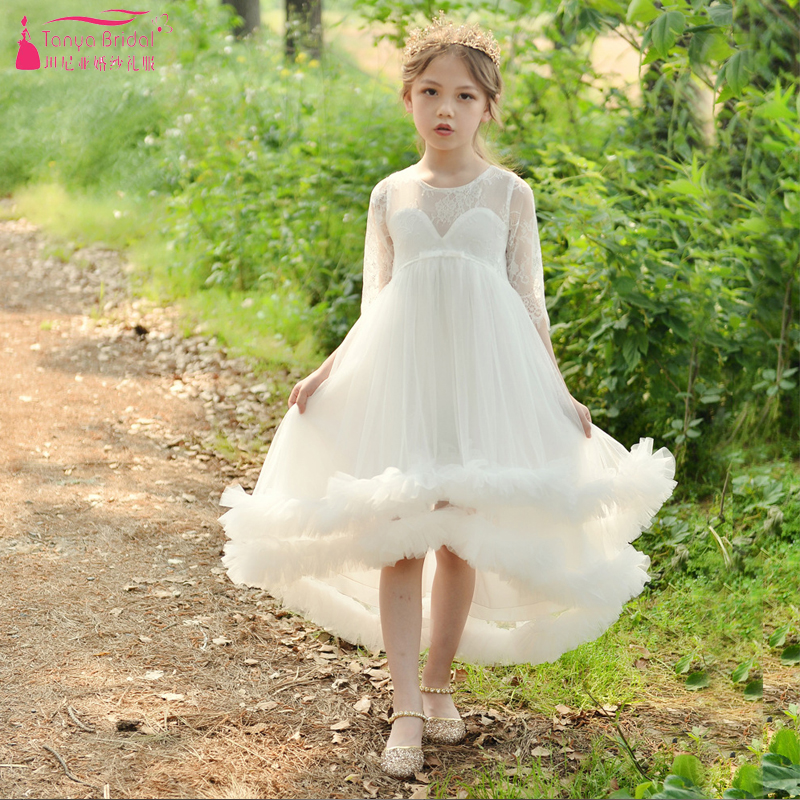 Half Sleeve High Low   Flower     Girls     Dress   For Wedding Sheer Neck Elegant Pageant Gowns ZF106