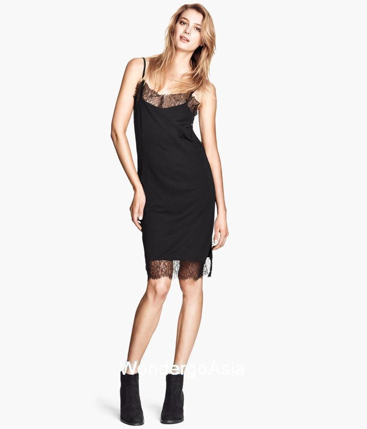 Black dress with lace hem cami