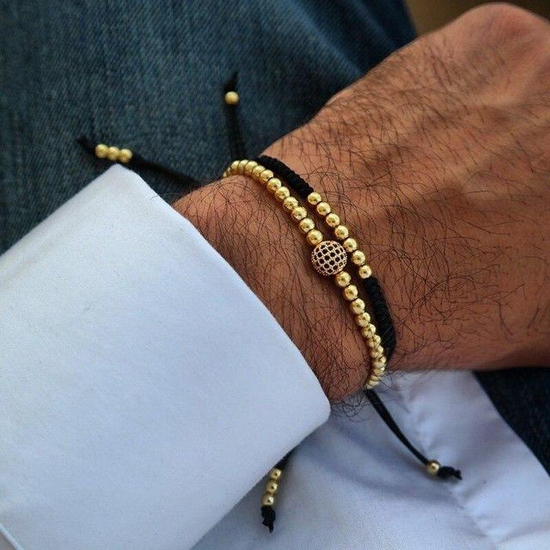 Gold Couple Bracelet Set Beads Men Bileklik Jewelry Adjustable Bracelets For Women Pulseira Masculina CZ Ball Armband Bangles