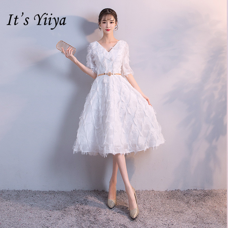 It's YiiYa New Simple Pure Color Prom Dresses Elegant V-neck Half Sleeve Evening Gown JLM012