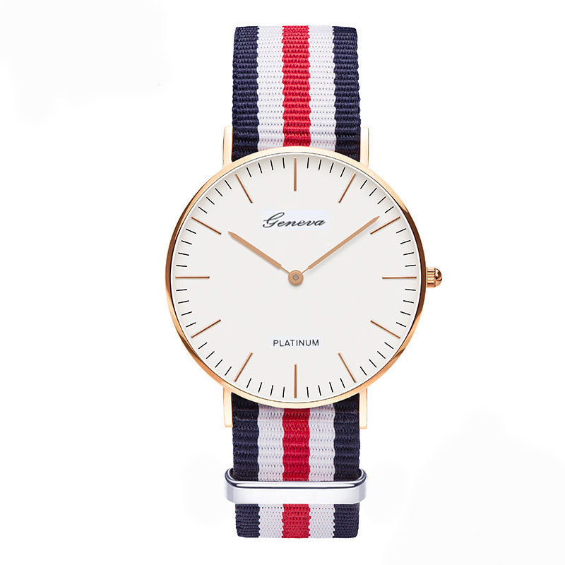 classic brand relogio feminino Geneva casual Quartz watch men font b women b font Nylon strap