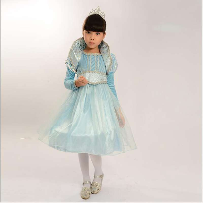 Halloween Children New Girls Blue Small Princess Stage Children Dance Gauze Veil Host Performance Clothing