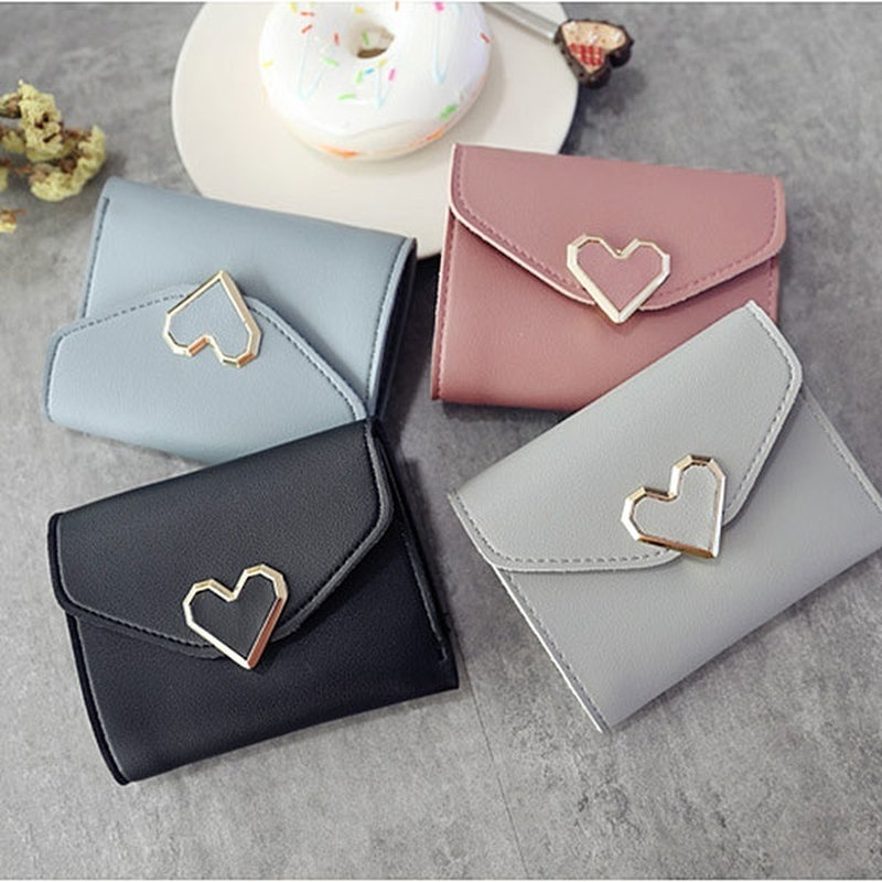 New Simple Fashion Women Coin Purse Leather Solid Color Vintage Short Wallet Heart Hasp Ladies Girls Card Holder Clutch Bag(China)