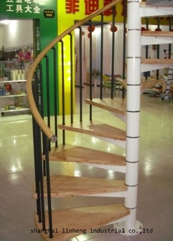 цена на Made in China hot selling indoor steel-wood spiral staircase(LH-SC004)