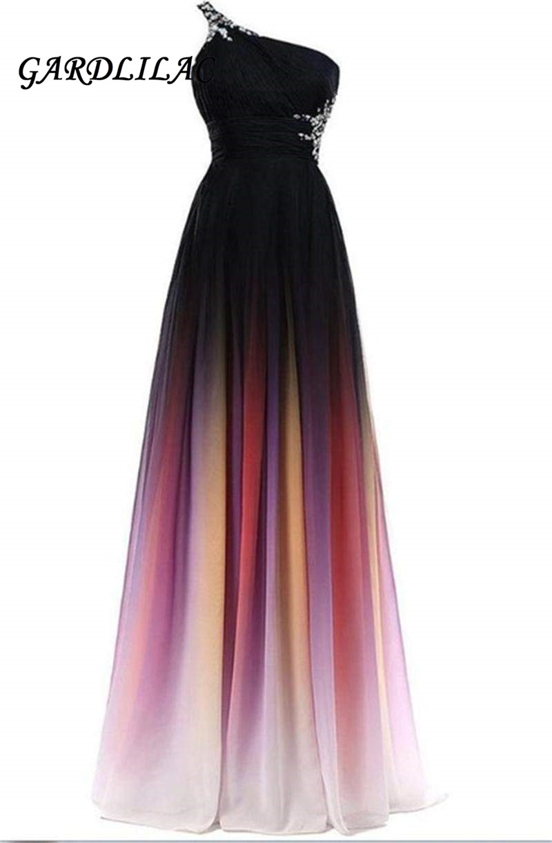 2019 New One-Shoulder Ombre Prom Dresses Vestido Longo Backless Bridesmaid Long Chiffon Gown Chiffon Prom Dresses Beaded G073