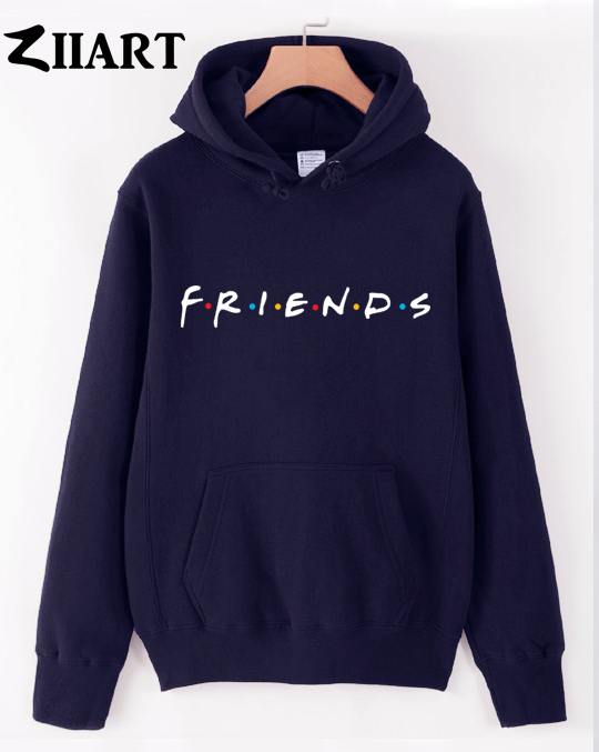Friends Tv Show Logo Letter Alphabet Couple Clothes Girls Woman Female Autumn Winter Cotton Fleece Hoodies