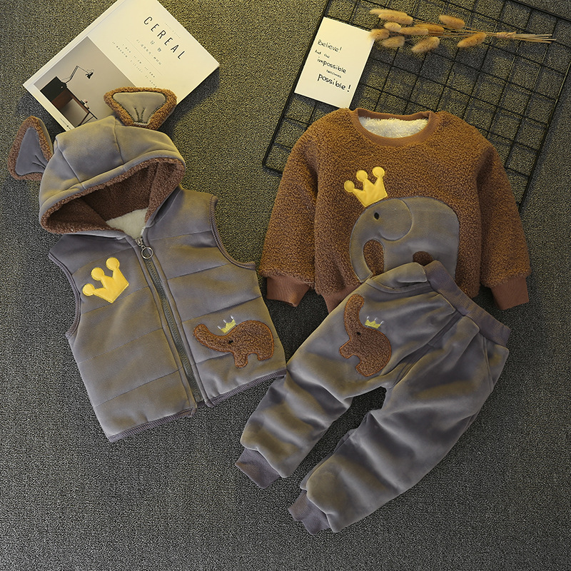 Bibicola 2018 wnter new baby boys and girls clothing set newborn cartoon cotton 3-pcs toddler casual warm plus velvet clothes стоимость