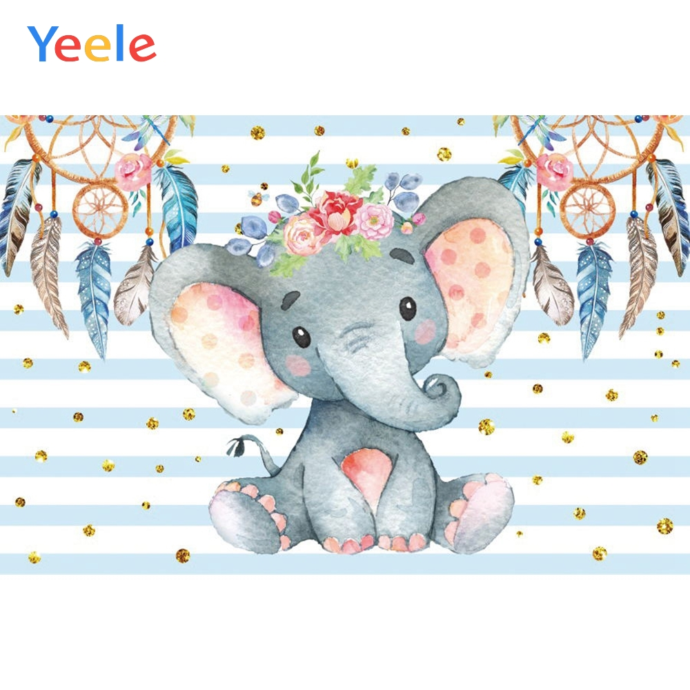 Yeele Baby Shower Party Blue Photography Backdrop Cartoon Elephant Newborn Boy Custom Photographic Backgrounds For Photo Studio in Background from Consumer Electronics