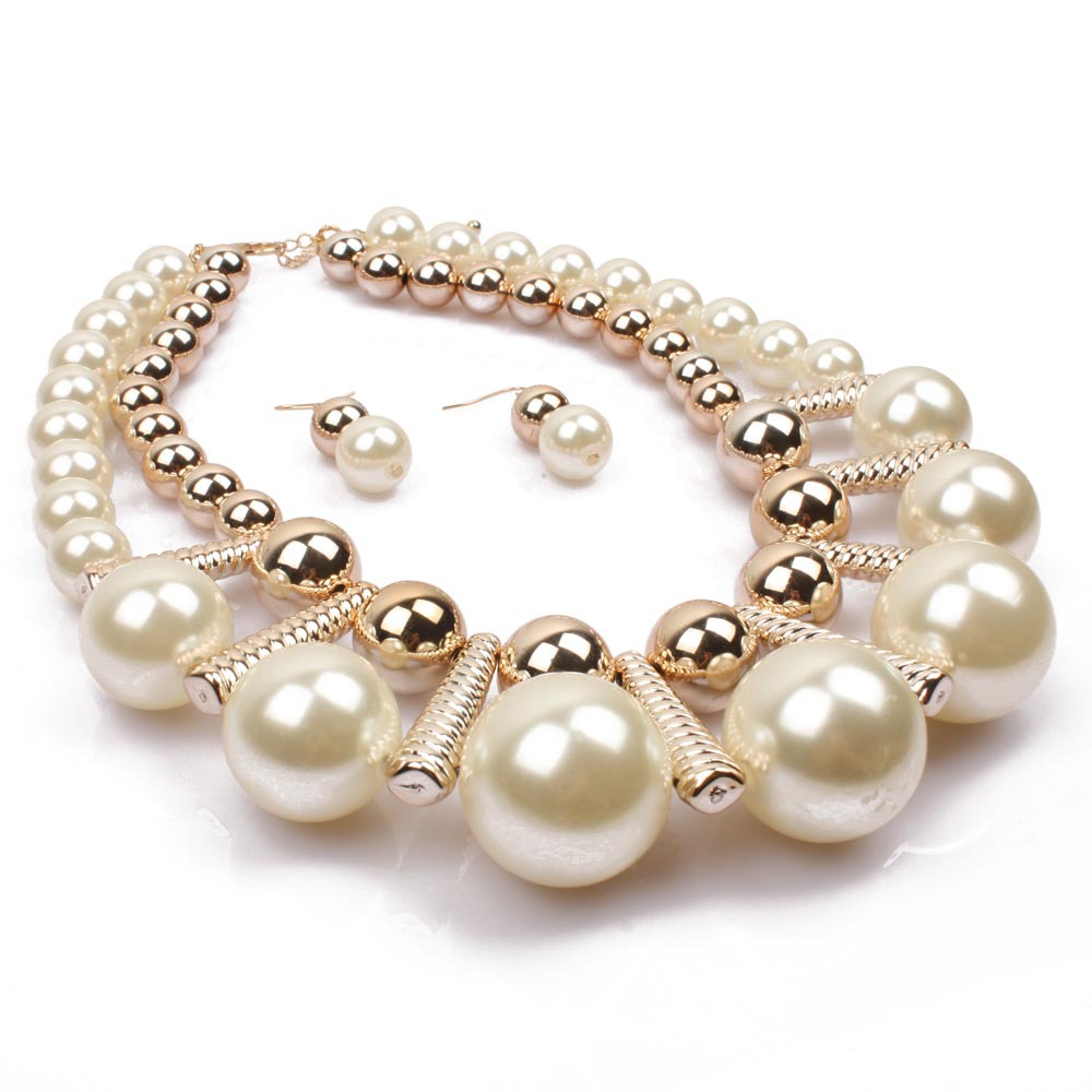 2018 Women Short Necklace Set Simulated pearl Double Layers Party ...