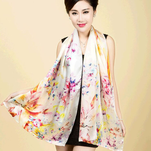 China silk 178cm * 52cm 12 Mumi satin Women's elegant Digital Printing manual crimping Pure silk scarves scarf Upscale shawls