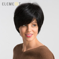ELEMENT 6 Short Synthetic Wig Natural Black Color Blend 50% Human Hair Left Side Parting Glueless Pixie Cut Wigs for Women