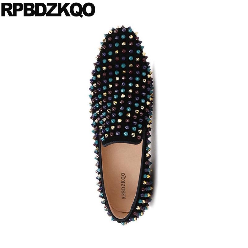 Nubuck Tamaño Spike Stud Runway Mocasines Zapatos 47 Más Hombres Cuero Real Square Toe Negro 46 Marca Partido 2018 Gamuza Genuino Remache Sftwzxq