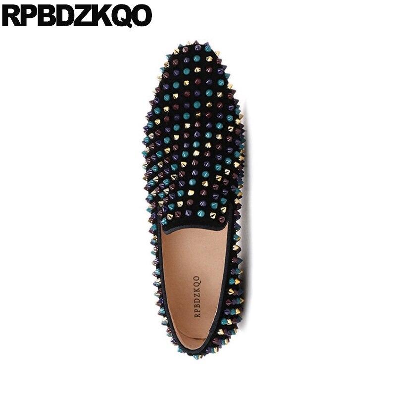 Carré Nubuck Stud En De 2018 Piste Cuir Bout La Mocassins Spike Daim 46 Chaussures Marque Partie 47 Hommes Noir Véritable Plus Rivet Taille qTOYt