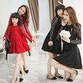 Familia conjunto de moda de color negro rojo de manga larga de encaje y encaje cubierta vestido de madre e hija madre e hija vestidos al por menor