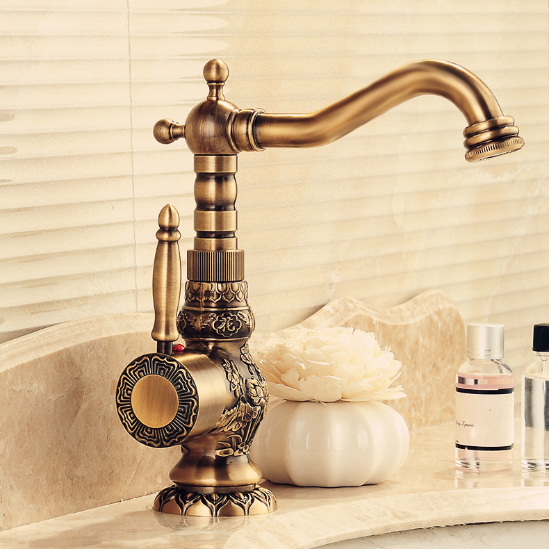 European Antique Brass Basin Faucet Carved Taps Hot And Cold Water Tap Decked Mounted Faucet Kitchen/Bathroom Products