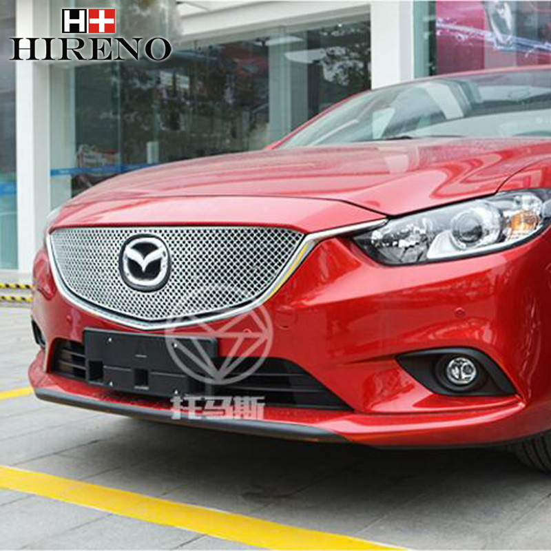 Stainless Steel Car Racing Grills For Mazda 6 Mazda6 ATENZA 2014-2016 Front Grill Grille Cover Trim Car styling steel racing front grille grill bezel honeycomb mesh cover trim grid for nissan qashqai 2014 2015 2016
