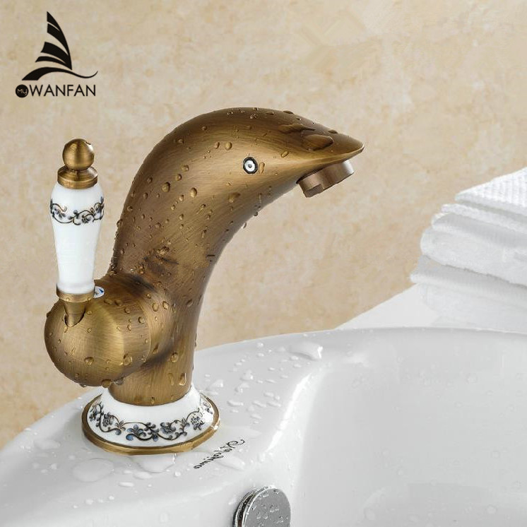 Basin Faucet Antique Brass Dolphin Bathroom Faucet Sink Single Lever Faucet WC Sanitary Hot and Cold Water Mixer Taps GYD-2320F crystal white basin vessel sink faucet single lever countertop bathroom mixer taps with hot and cold water