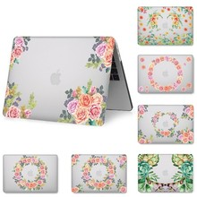 for MacBook Pro Air 11 13 15 inch Transaprent Flower Print Case for MacBook Retina 12 15 Protector Cover for A1398 A1369 A1286